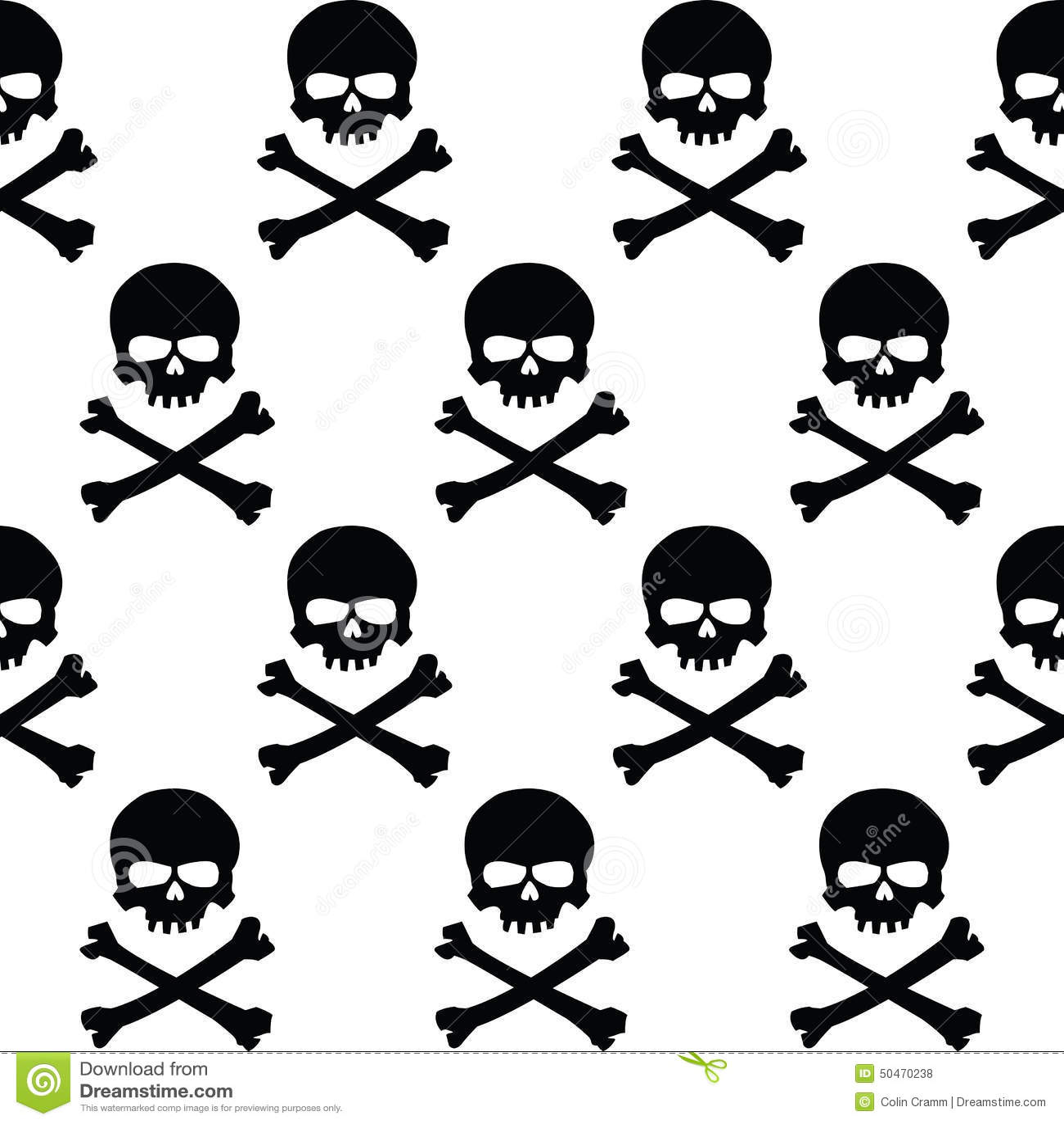 Black And White Skulls Background Stock Vector Illustration Of