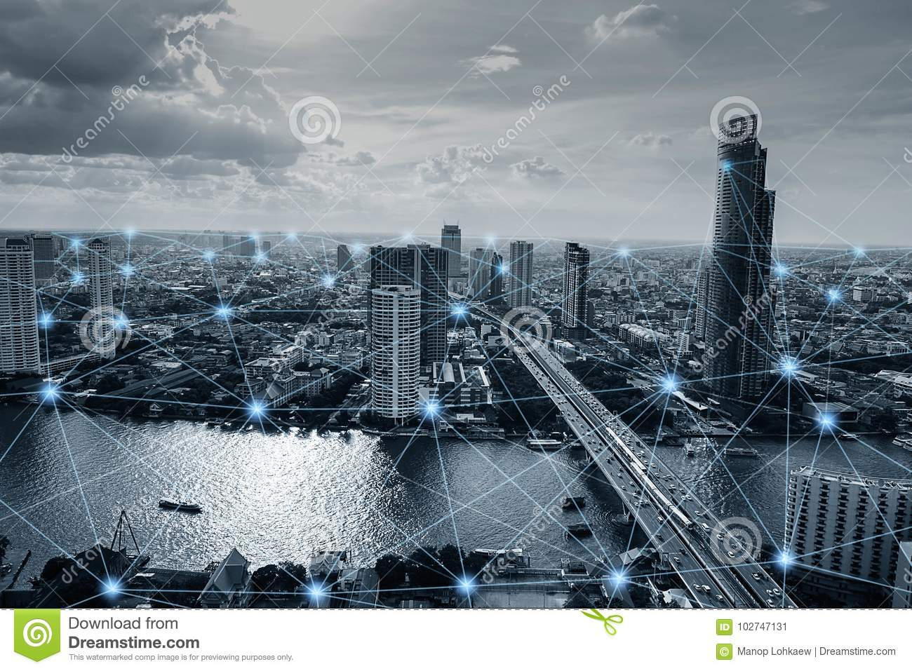 Black and white smart city with network connections