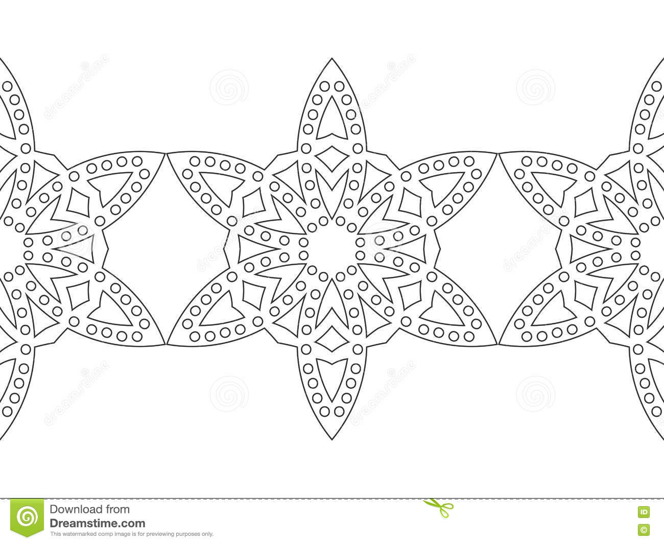 Black And White Snowflake For Coloring Book. Seamless ...