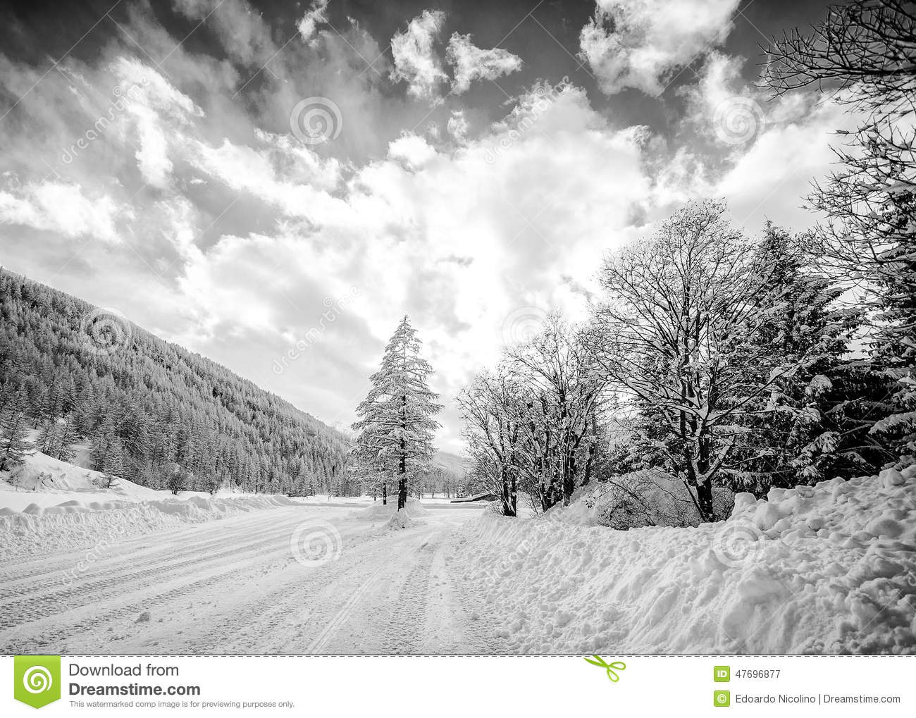 Black And White Snowy Mountain Landscape Stock Photo ...