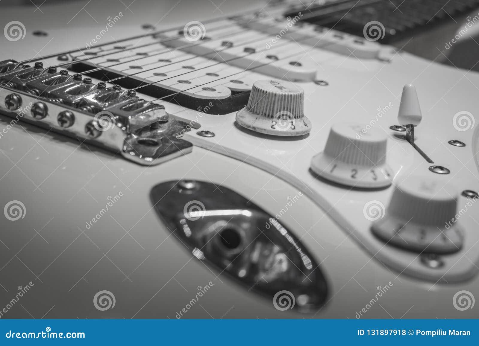 Black White Solo Electric Lead Guitar, Rock Music Stock