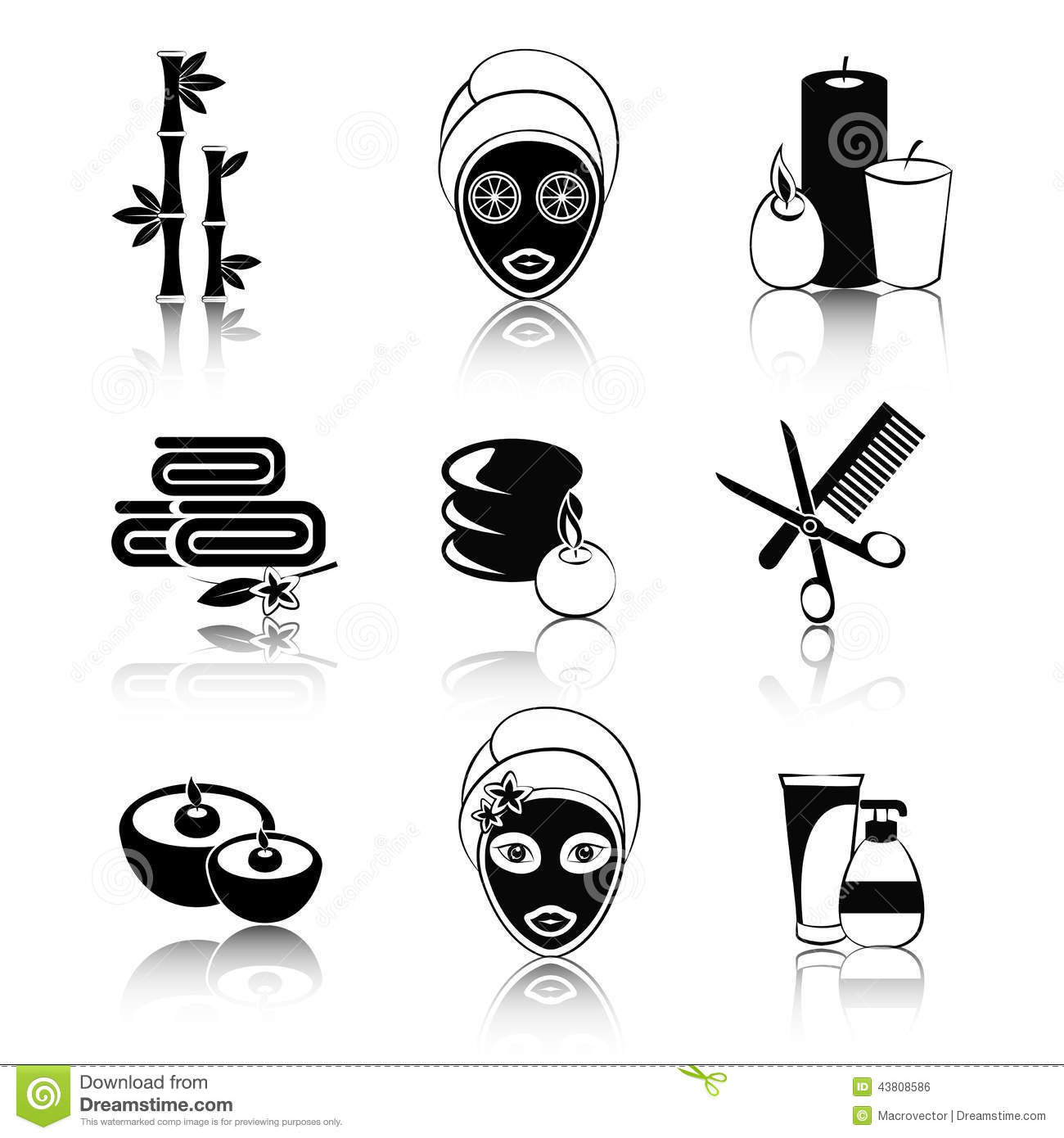 black and white spa icons set stock vector - illustration of