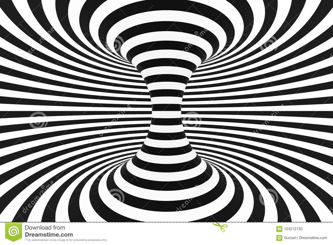Black and white spiral tunnel striped twisted hypnotic optical illusion abstract background 3d render
