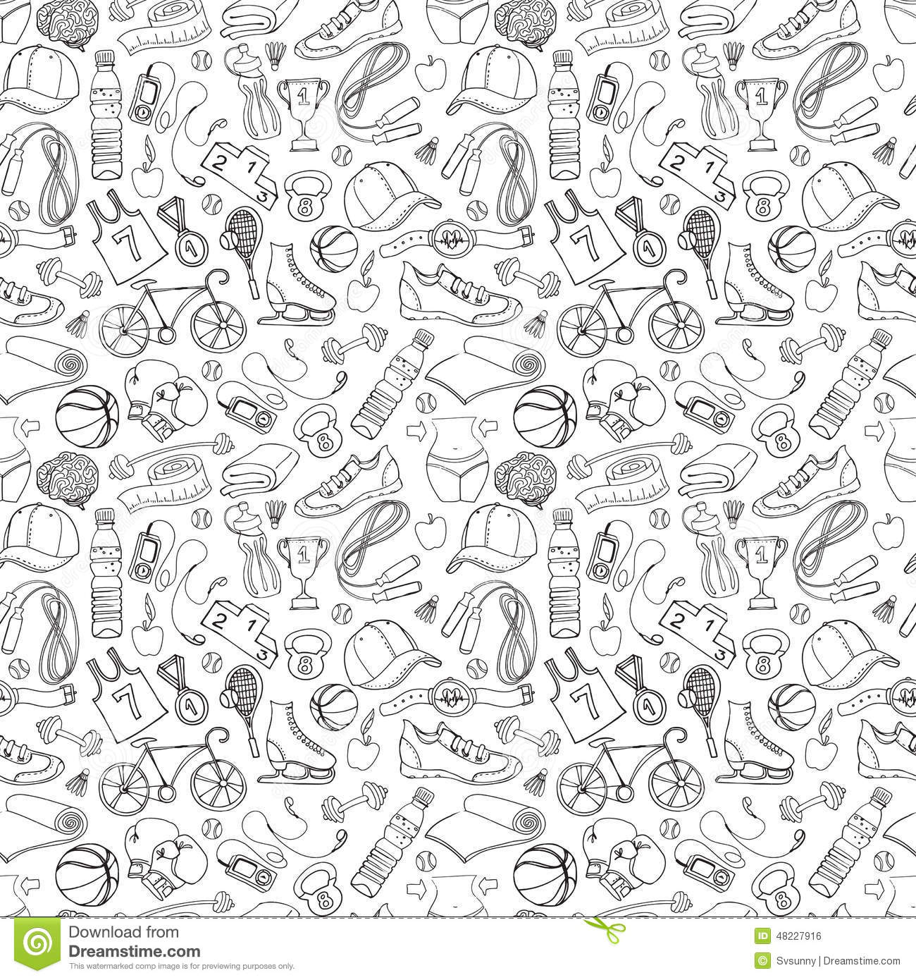 Black And White Sport And Fitness Seamless Doodle Pattern ...