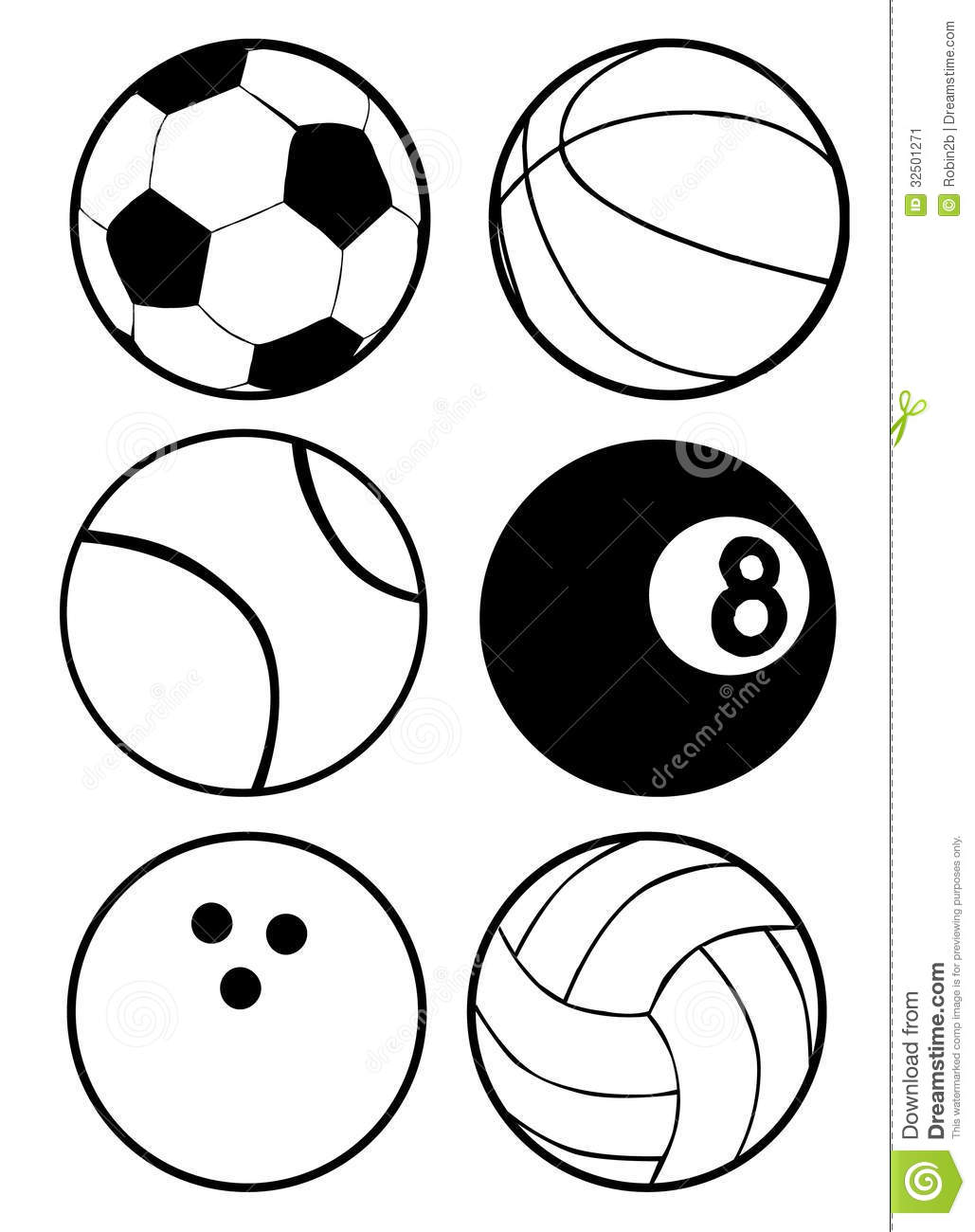black and white sports balls stock vector illustration of lines rh dreamstime com sports equipment clipart black and white sports car clipart black and white
