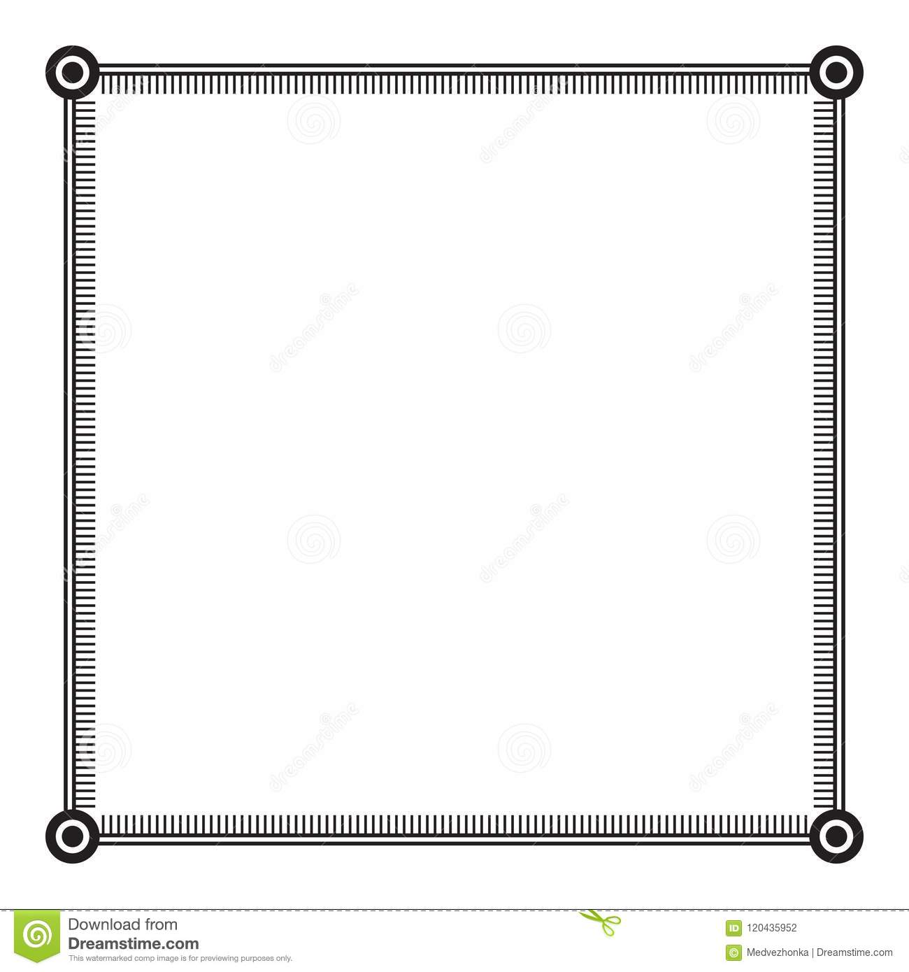 Black And White Square Frame With Simple Ornament. Stock Vector ...
