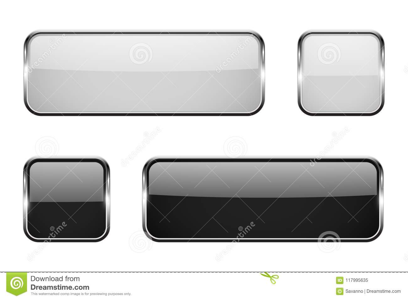 Black And White Square Glass Buttons With Metal Frame. Set Of 3d ...