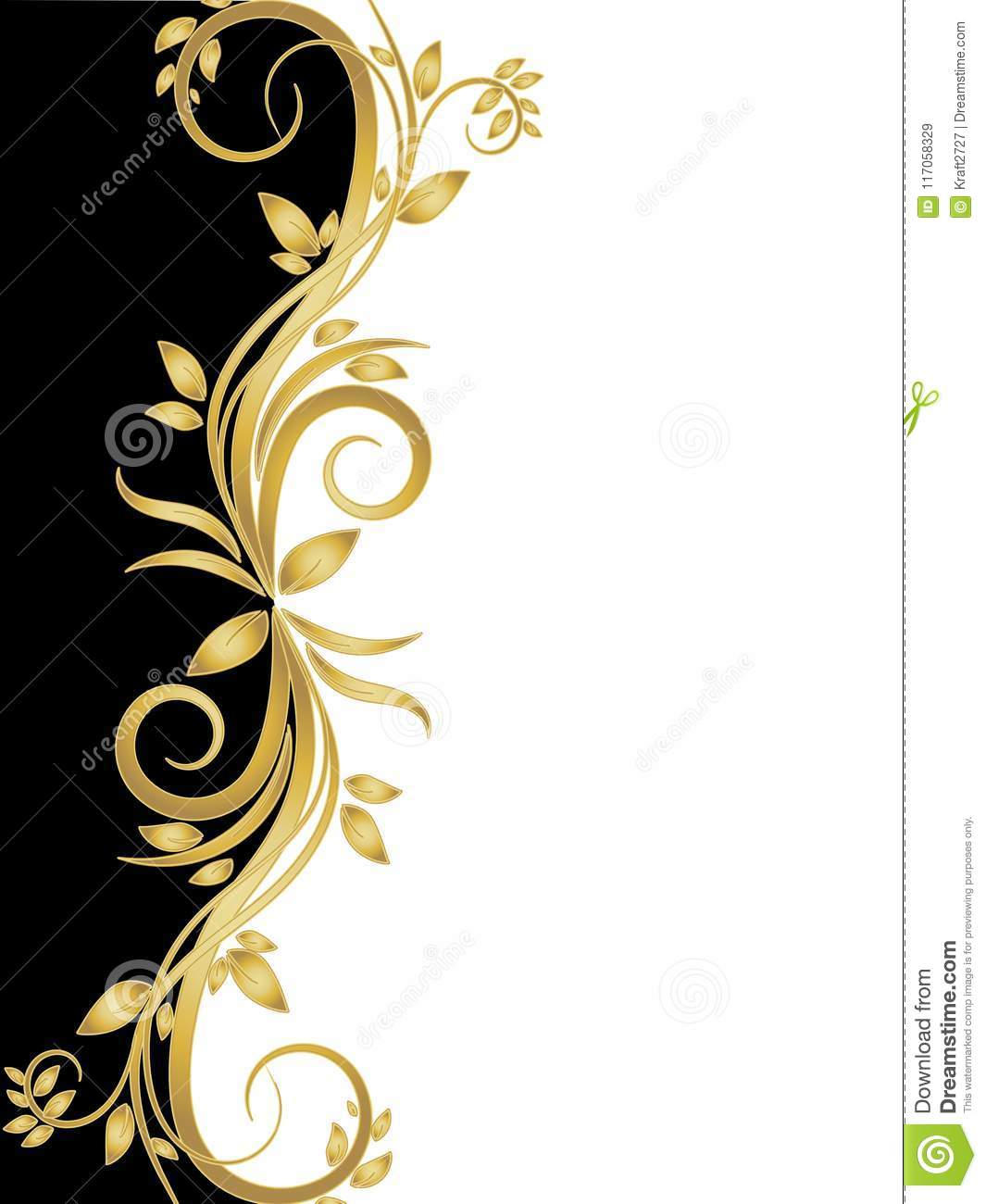 Black And White Stencil With Gold Flowers Stock Vector