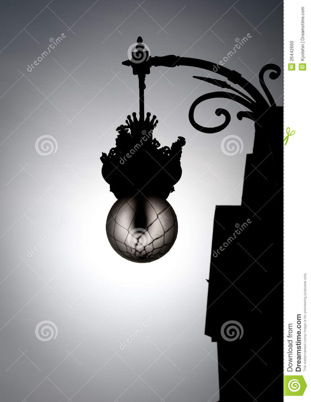 Black And White Street Light In Old Style Stock Photo