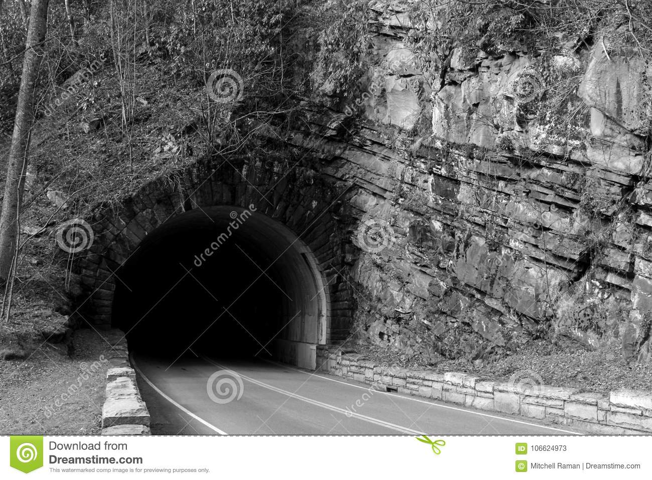Black and white street photography of a tunnel going through the great smoky mountains national park