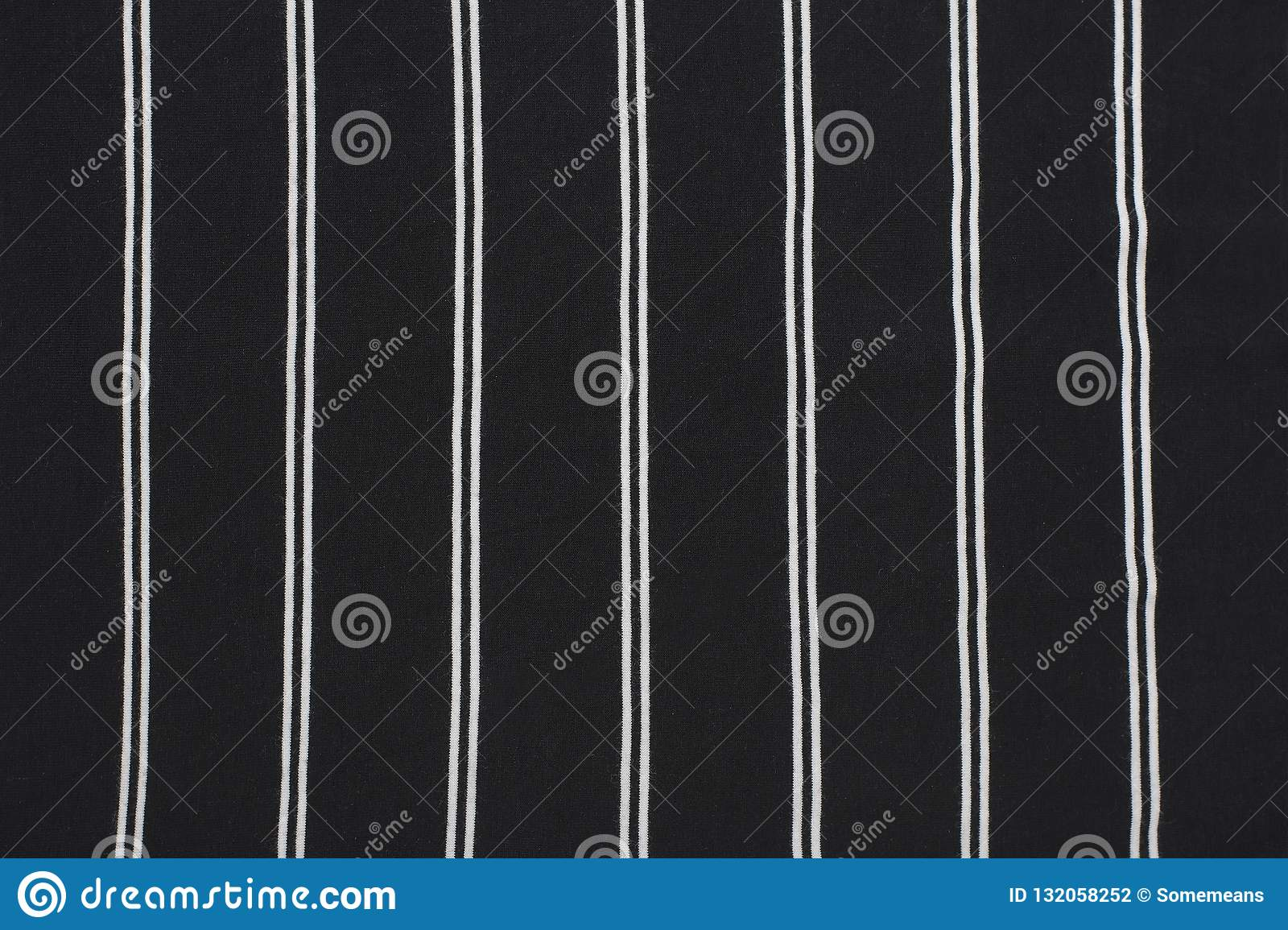 Black And White Striped Fabric Close Up Fashionable Concept Stock