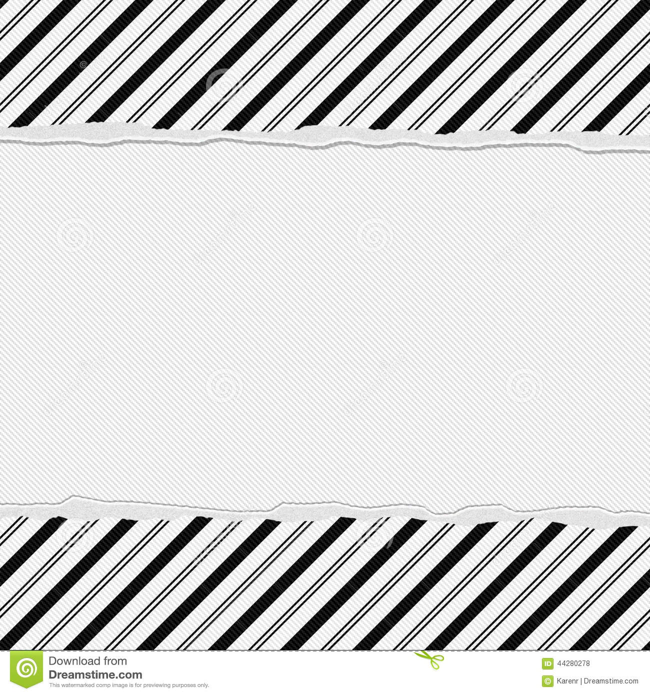 Black And White Striped Frame With Torn Background Stock