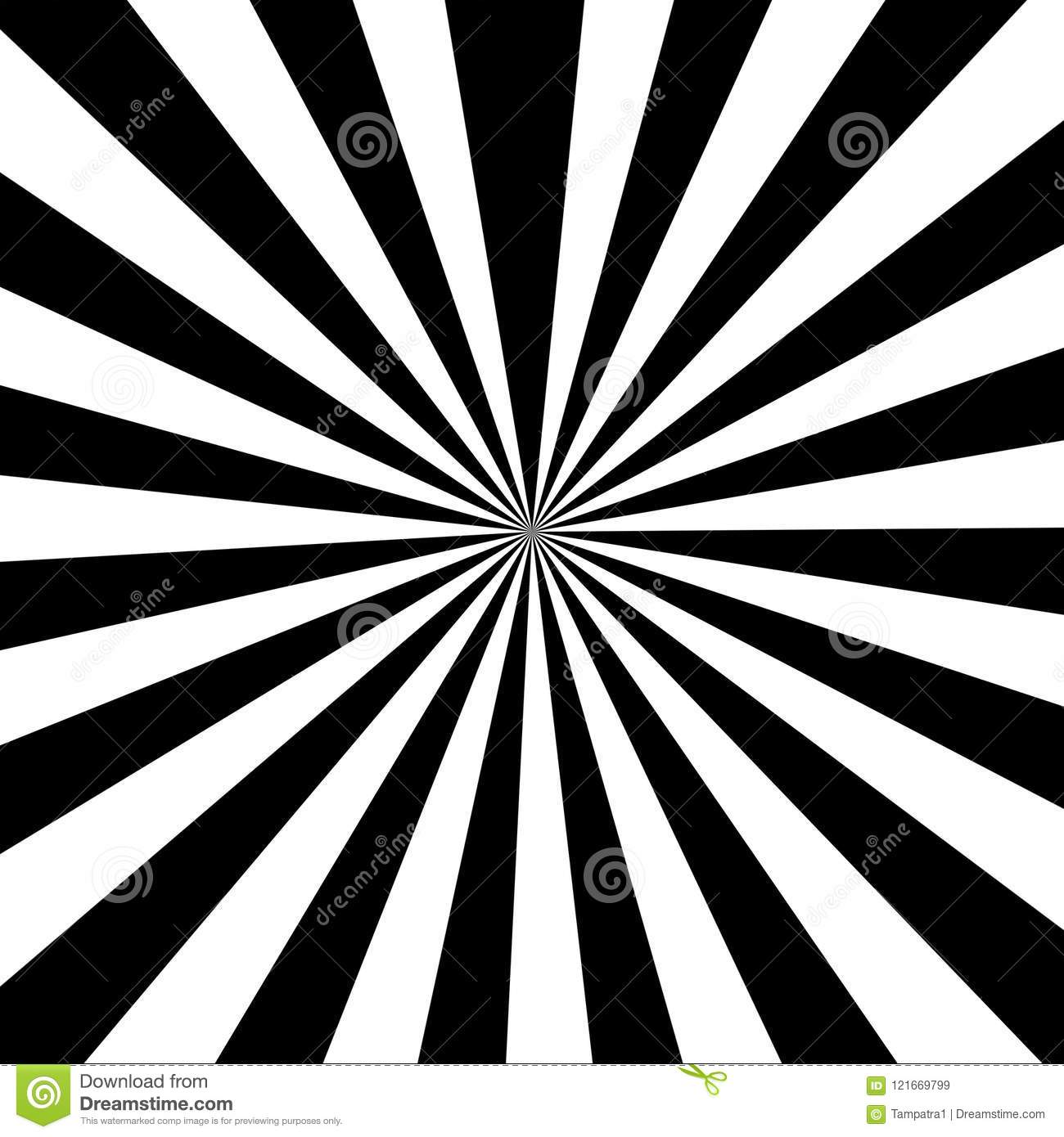 Black And White Striped Ray Burst Style Background Optical