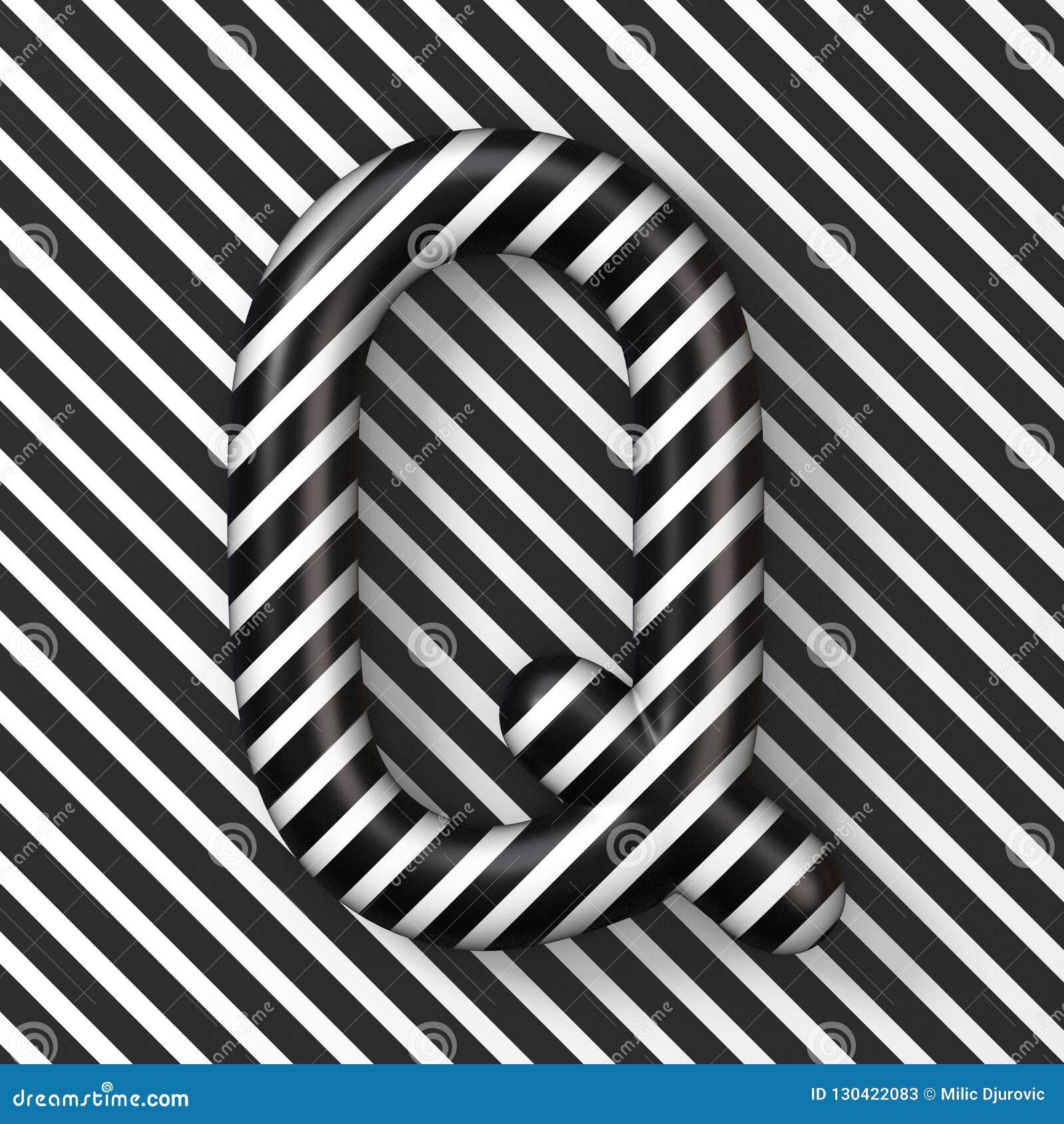 Black And White Stripes Letter Q 3d Stock Illustration