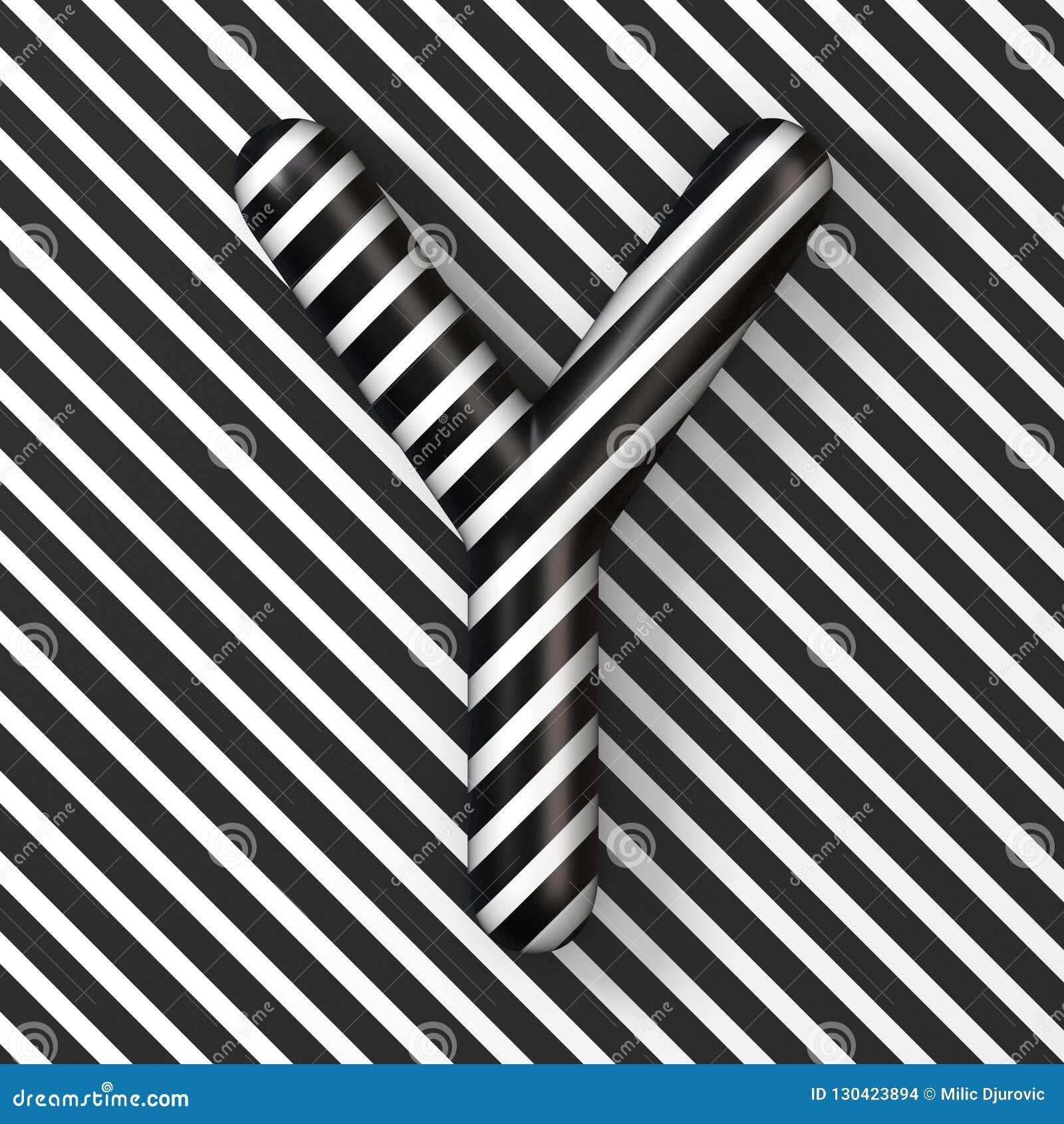 Black And White Stripes Letter Y 3d Stock Illustration