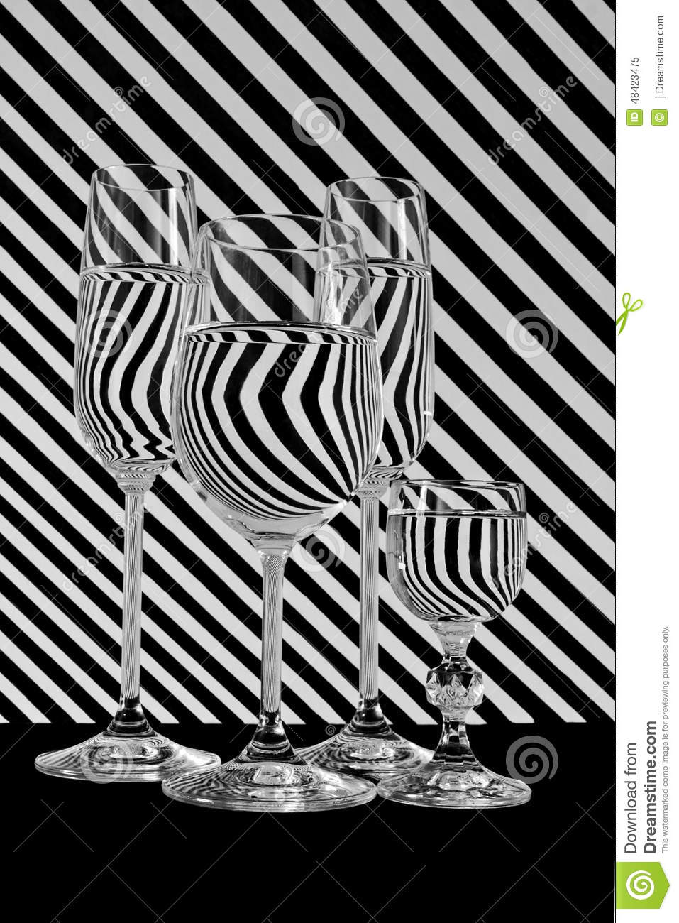Black and white stripes line glass