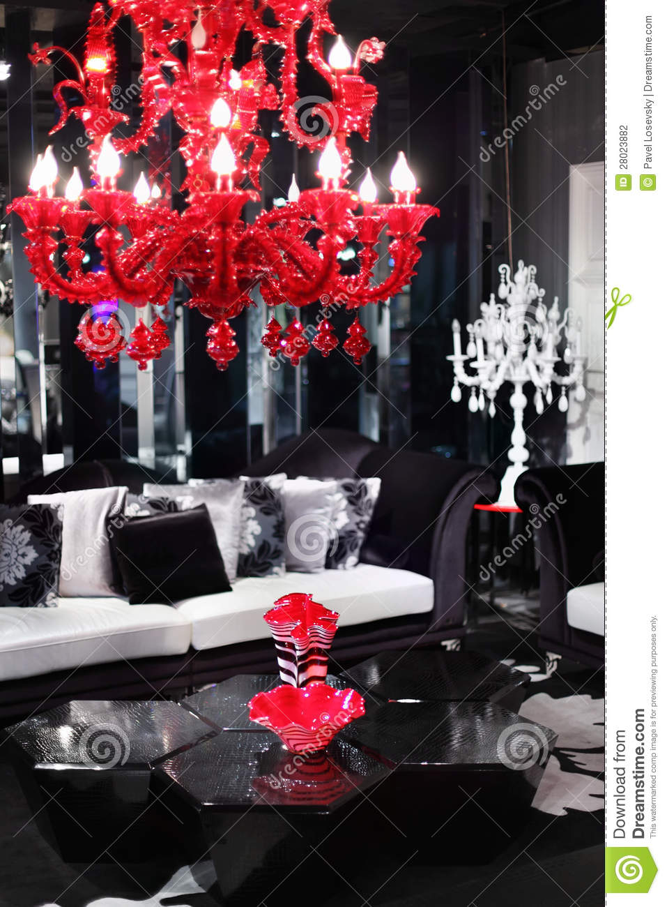 Black Chandelier Coffee Pillows Red Sofa Stylish Table