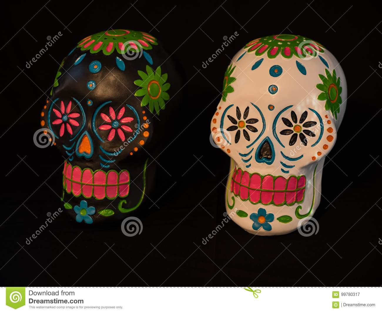 White And Black Sugar Skulls For Day Of The Dead Stock Image Image