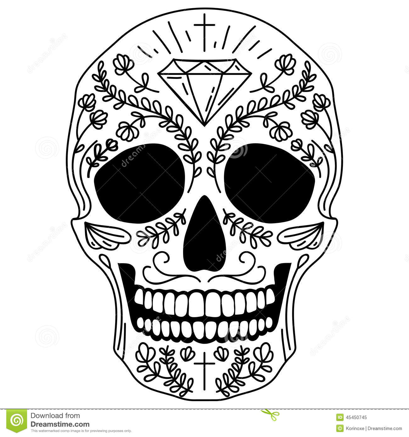black and white sugar skull stock vector illustration of. Black Bedroom Furniture Sets. Home Design Ideas