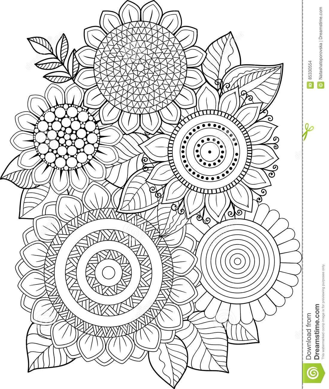 Black and white Sunflowers Isolated On White Abstract Doodle Background Made Of Flowers And