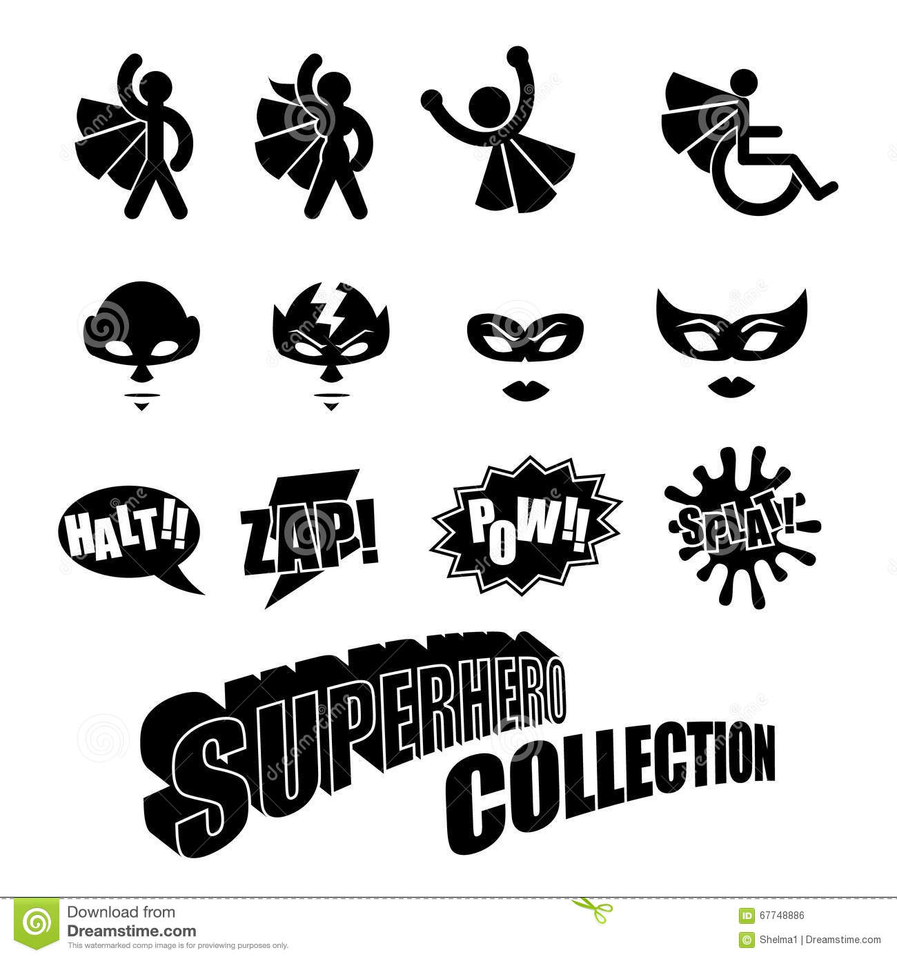 Black And White Superhero Icons Symbol Collection Stock