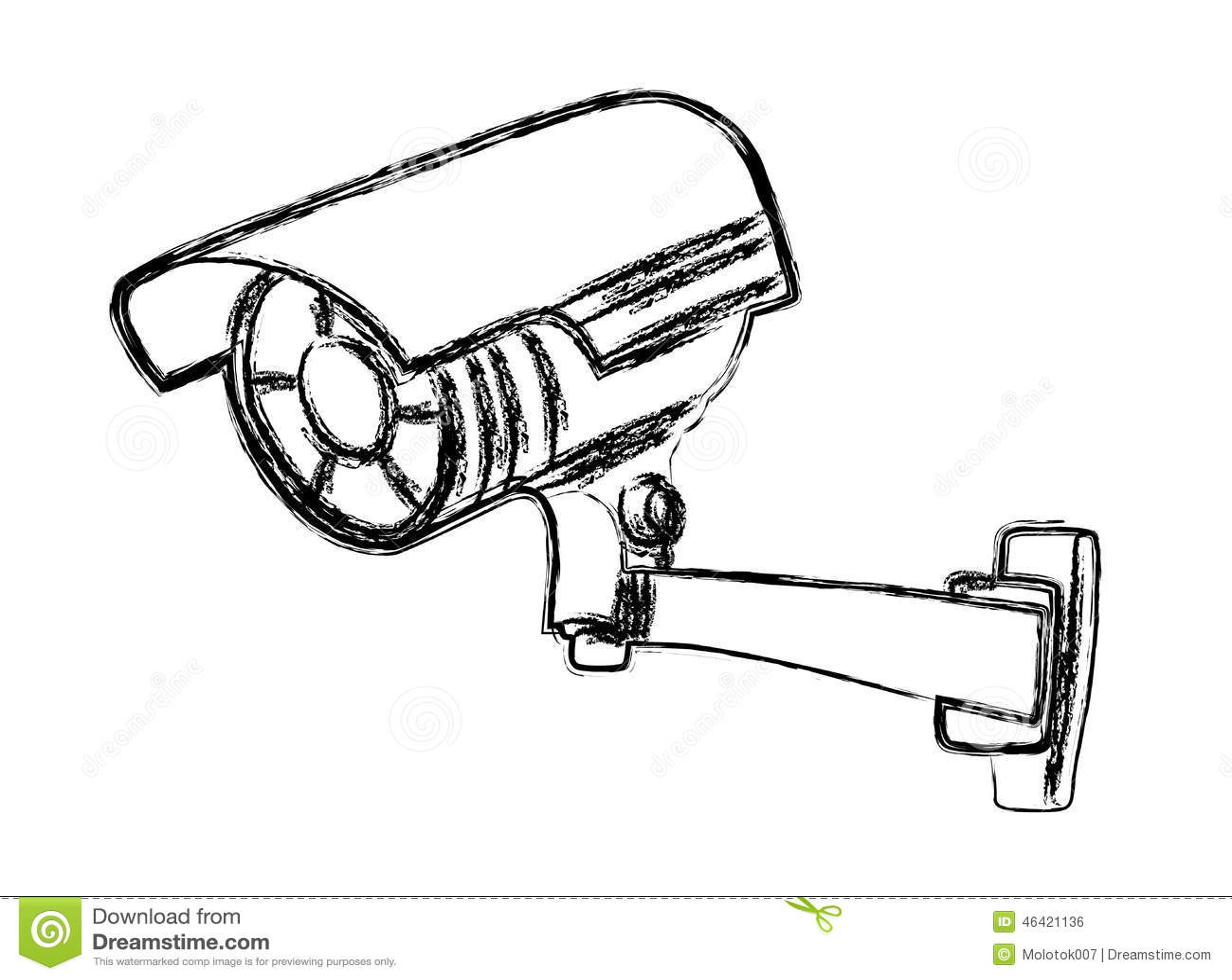 black and white surveillance camera  cctv  cartoon vector