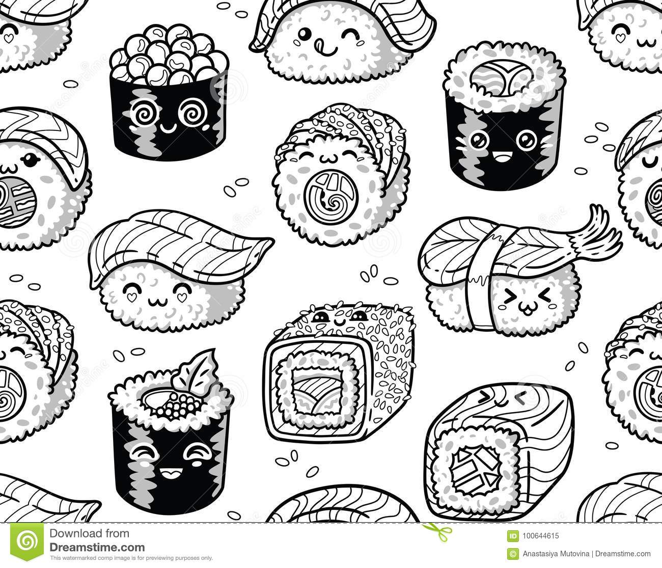 Black And White Sushi And Sashimi Seamless Pattern In Kawaii Style