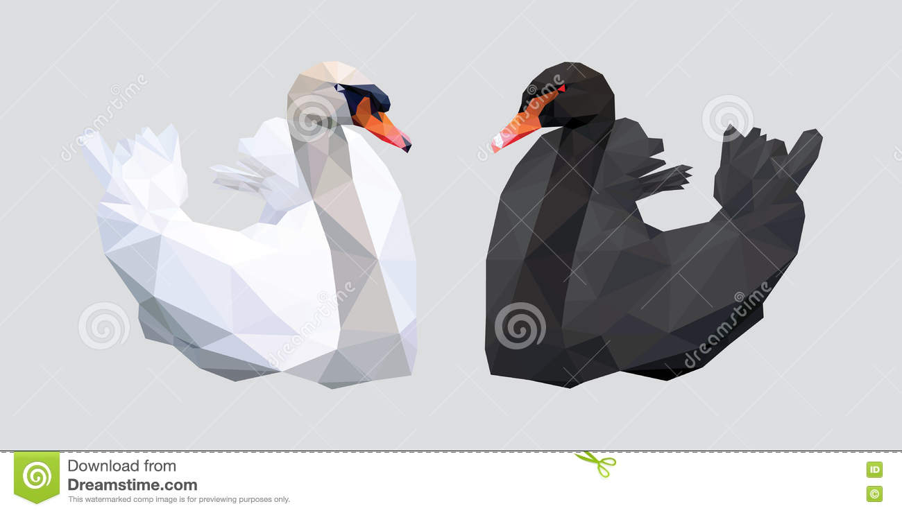 Black And White Swan With Red Beak Low Polygon On Gray