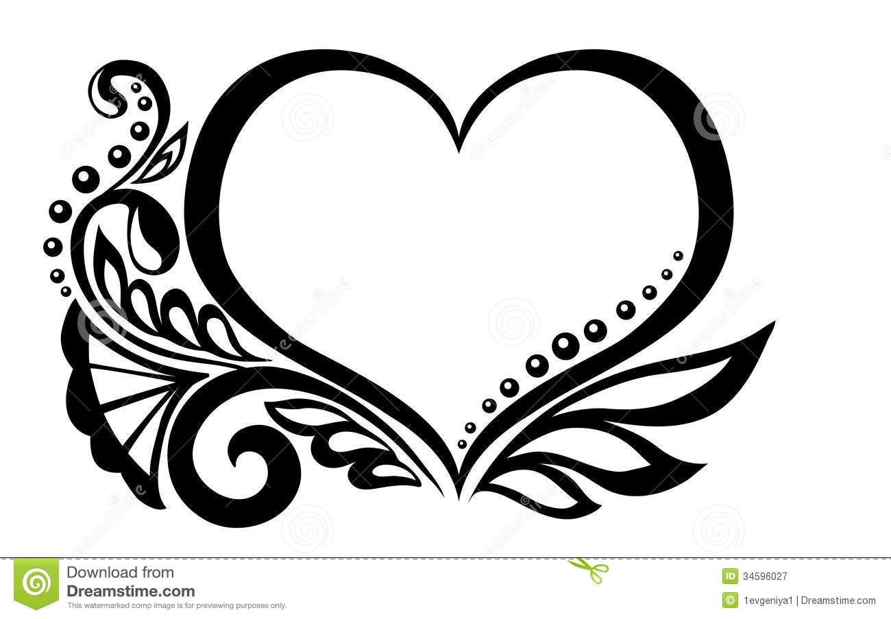 Black And White Symbol Of A Heart With Floral Desi Stock Vector