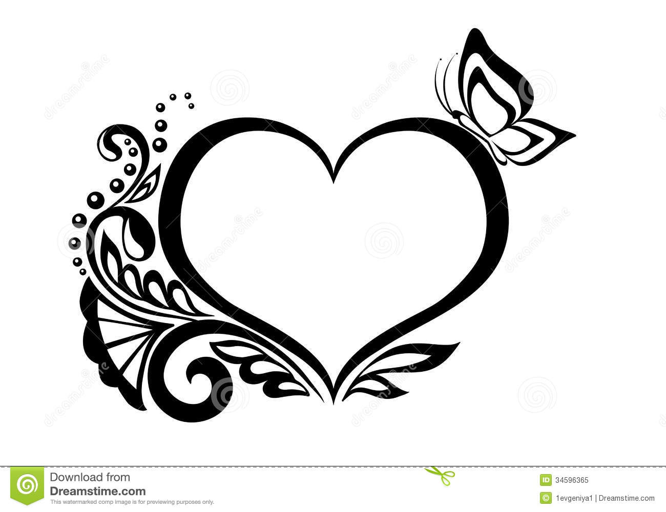 Black-and-white Symbol Of A Heart With Floral Desi Royalty ...