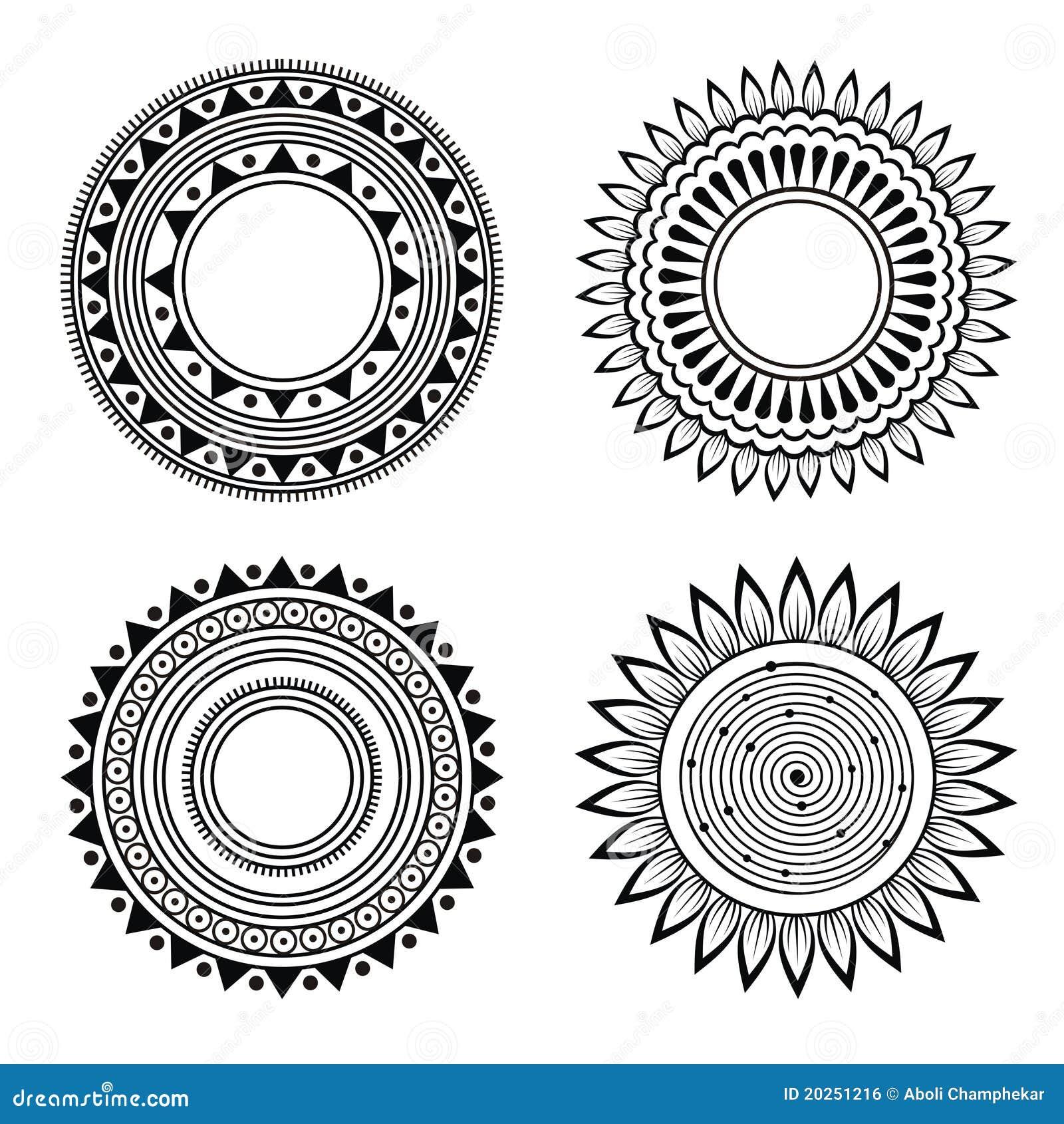 Black And White Symmetric Henna Patterns Stock Illustration
