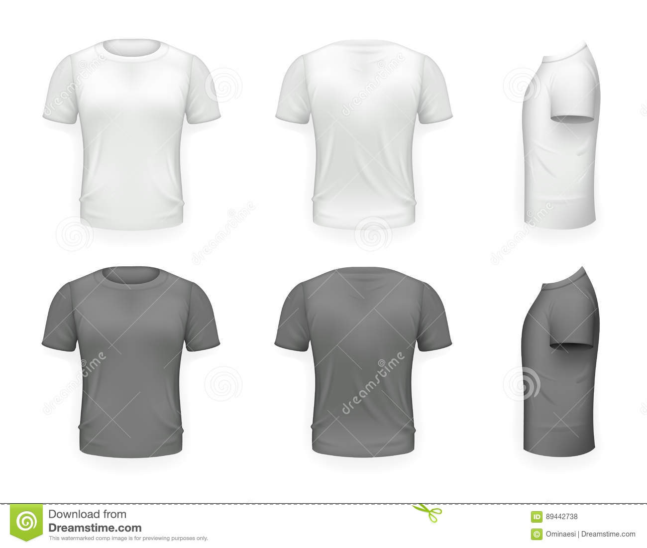 White t shirt front and back template - Black And White T Shirt Front Side Back View Template Realistic 3d Design Icon Transparent
