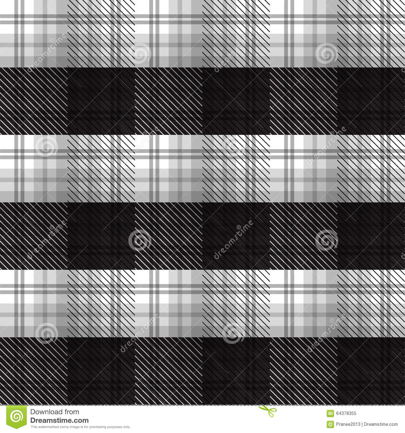 Black And White Tartan Plaid Background Stock Vector