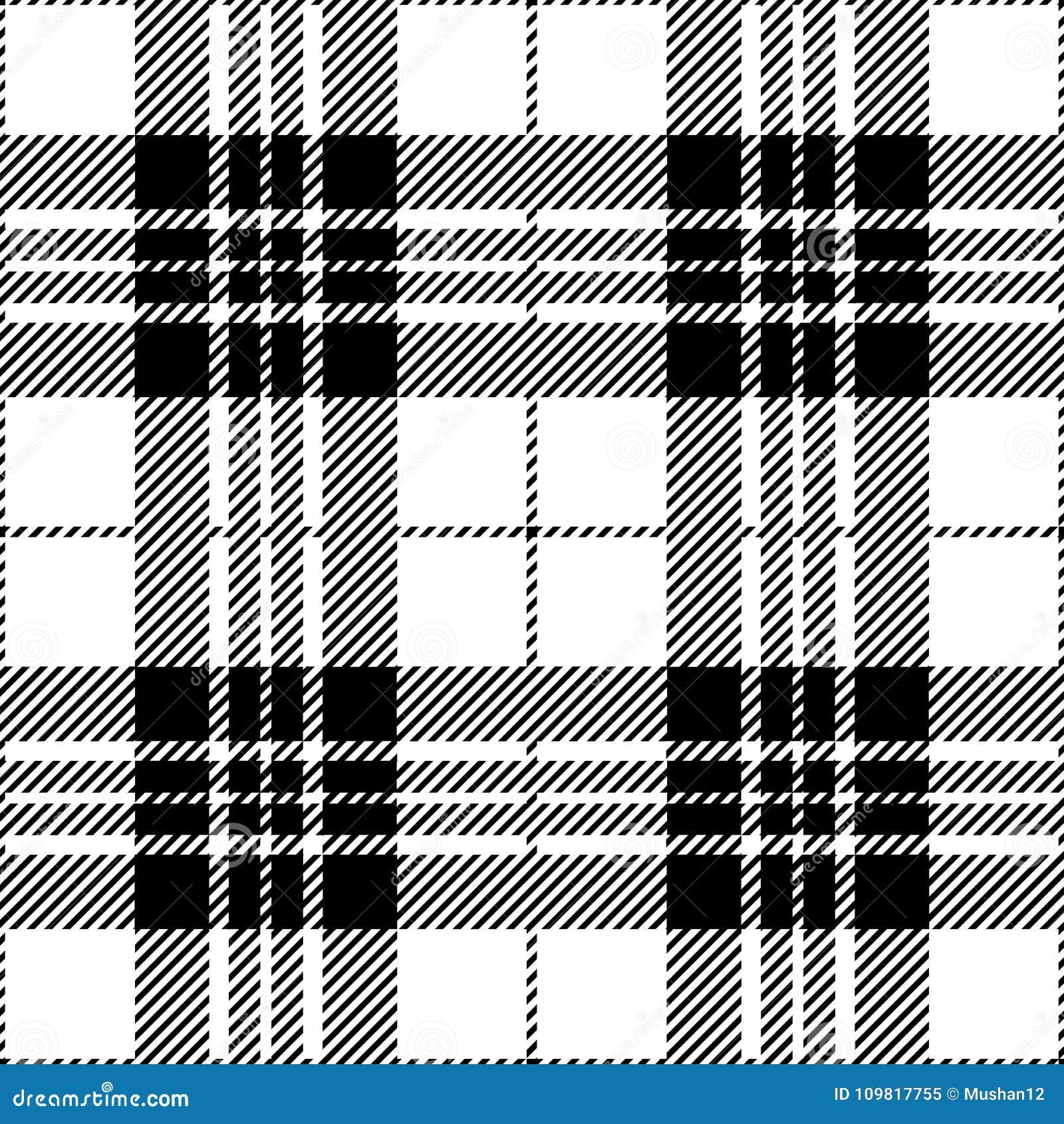 Black And White Tartan Plaid Seamless Scottish Pattern Stock Vector