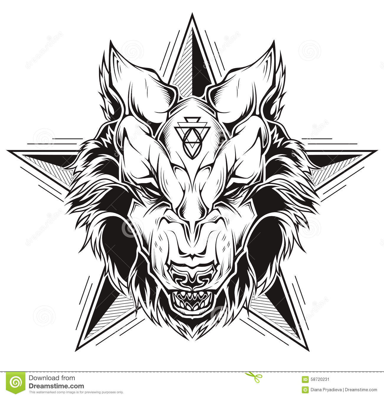 black and white tattoo of a wolf head with star stock vector illustration of strength. Black Bedroom Furniture Sets. Home Design Ideas