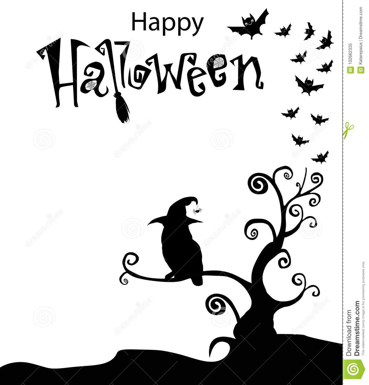 Black And White Template With Owl In Witch Hat Sitting On The C