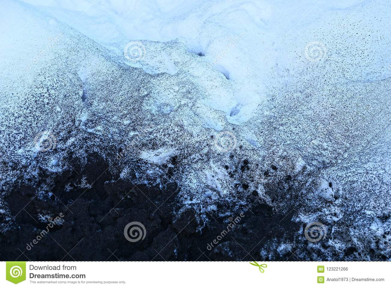 Black and white texture of ash and snow