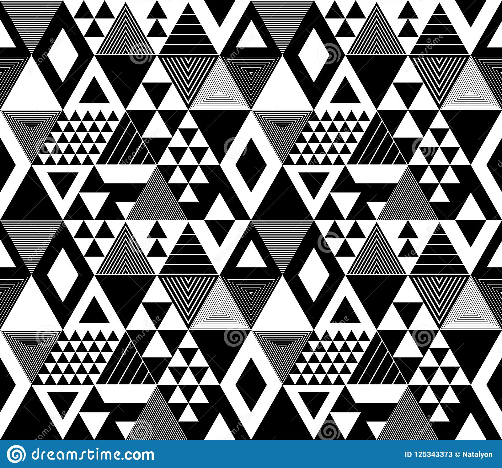 Black And White Textured Bold Triangles Geometric Abstract