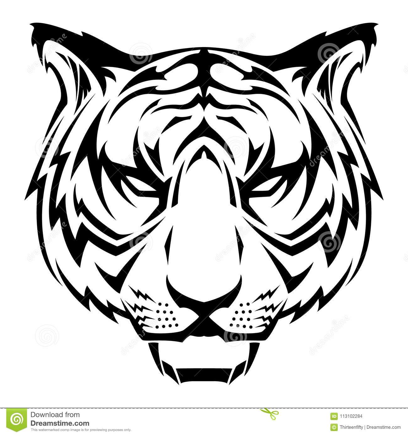Black And White Tiger Head Tribal Tattoo Vector Illustration Stock