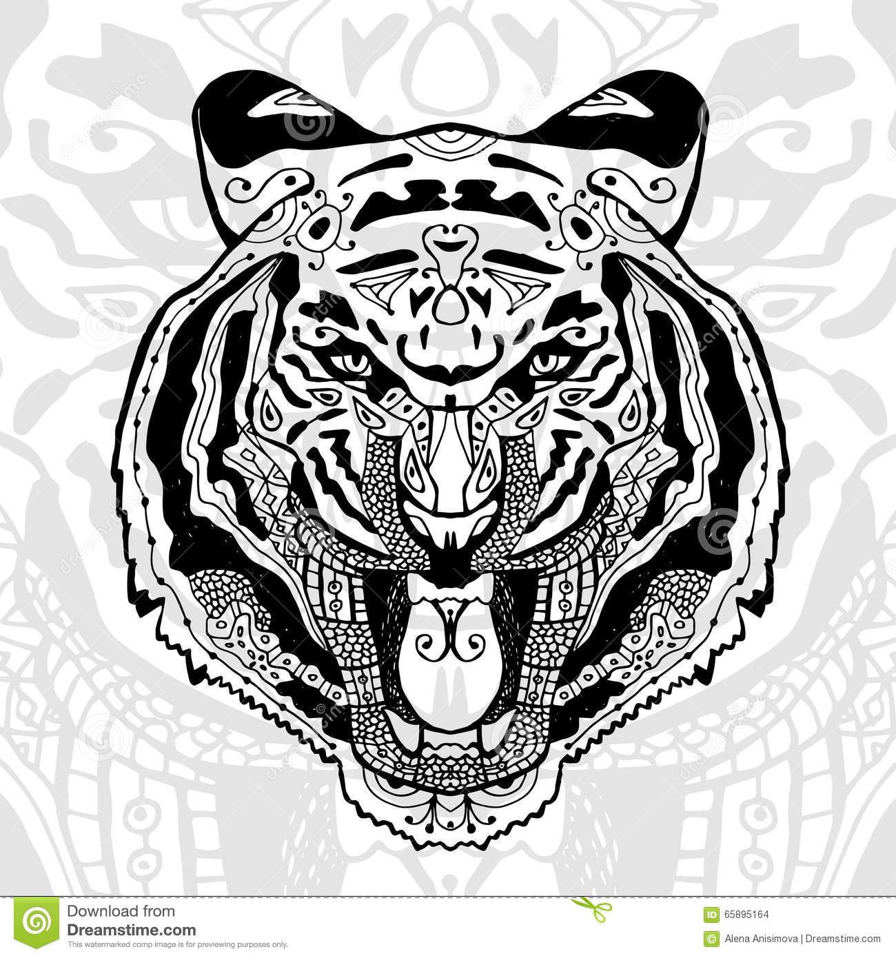 The black and white tiger print with ethnic zentangle patterns stock vector image 65895164 - Tigre mandala ...