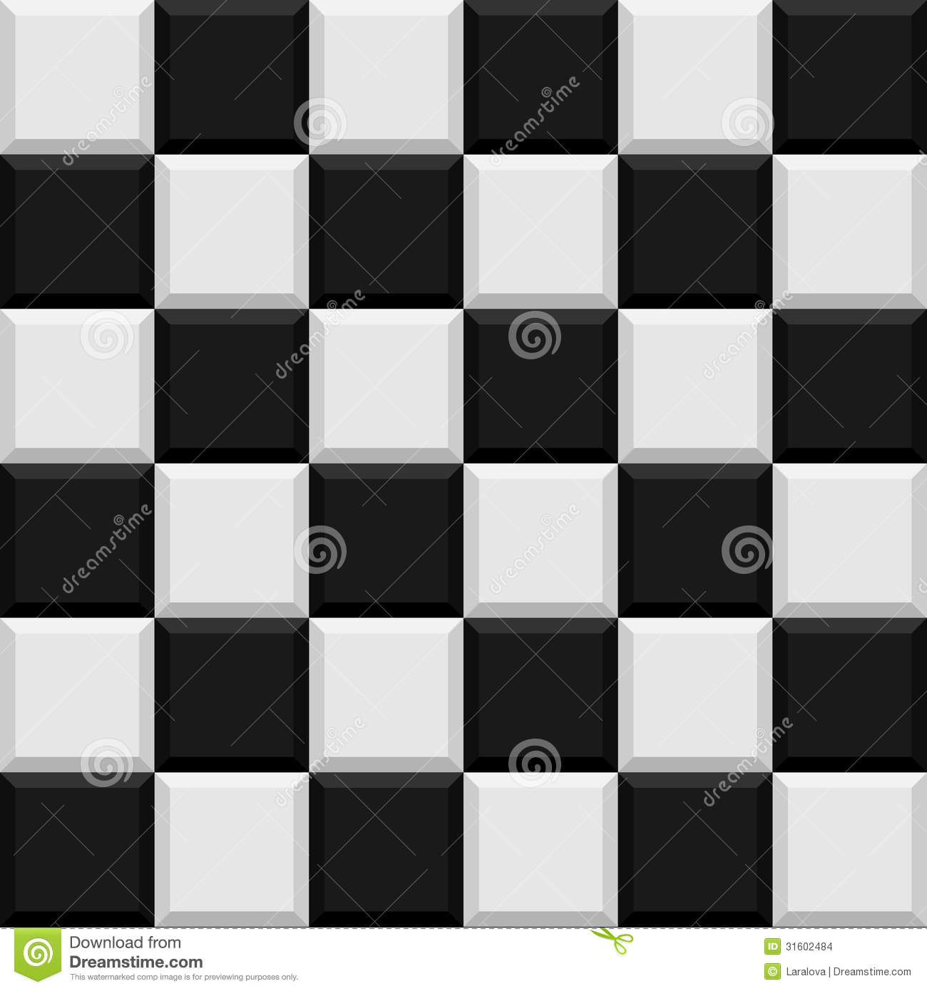 Black And White Tiles Seamless Pattern Stock Images