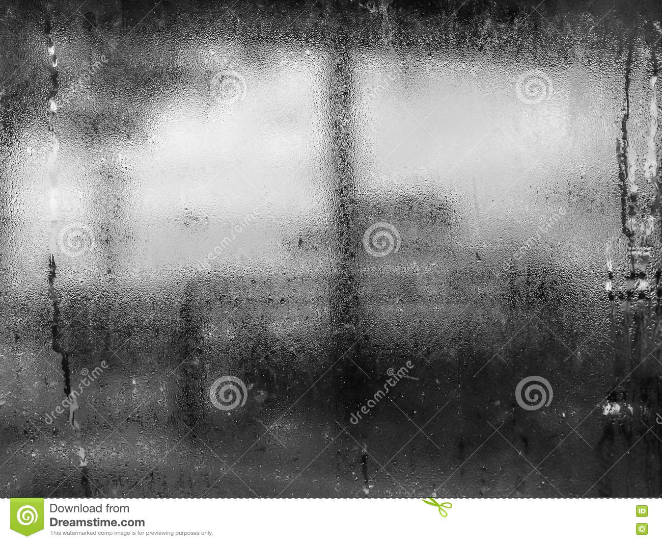 Black and white tone of water drops from home condensation on a