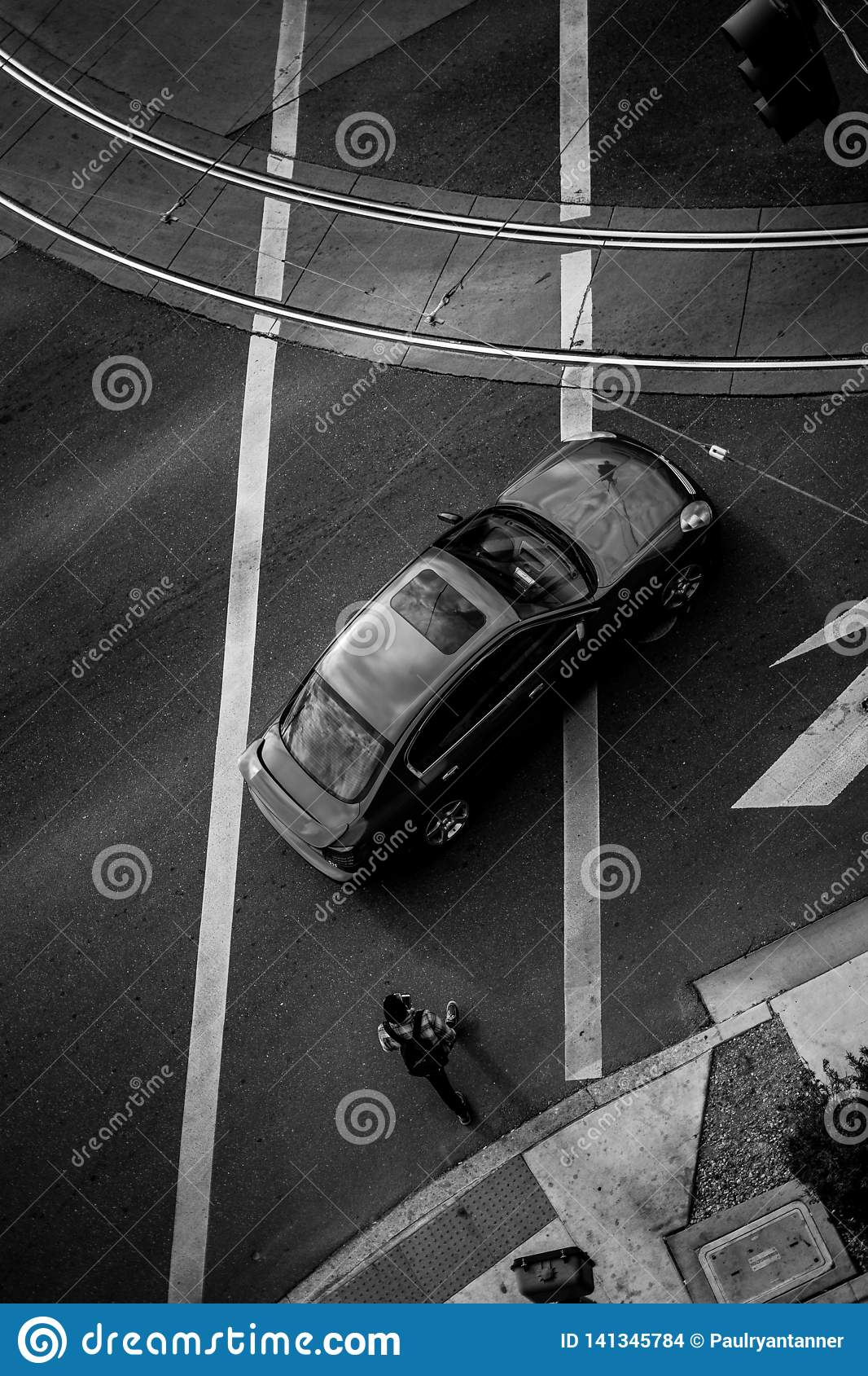 Black and White top vidw of street and cars