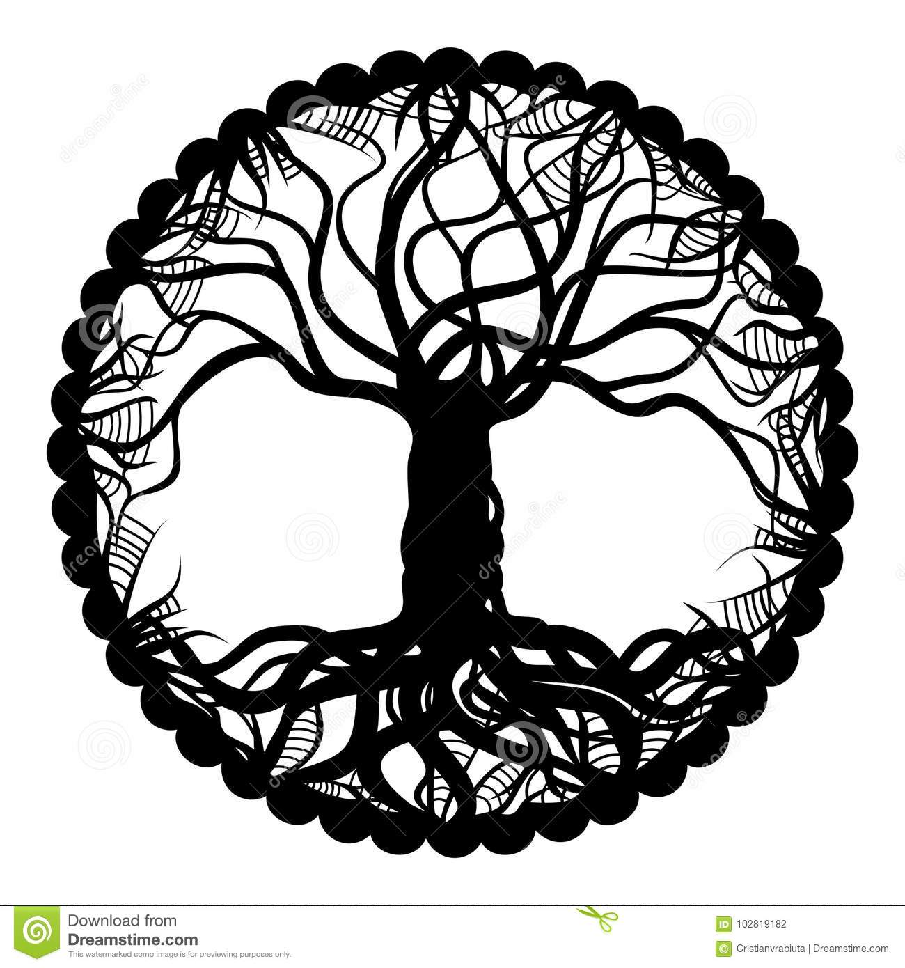 Black And White Tree Of Life Medallion Stock Vector