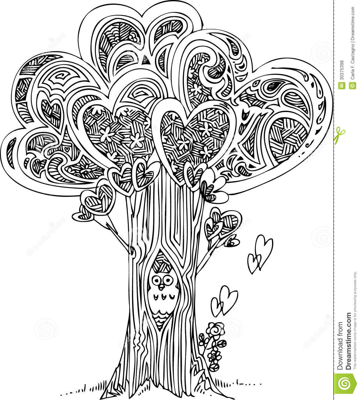 coloring tree of love royalty free stock photos