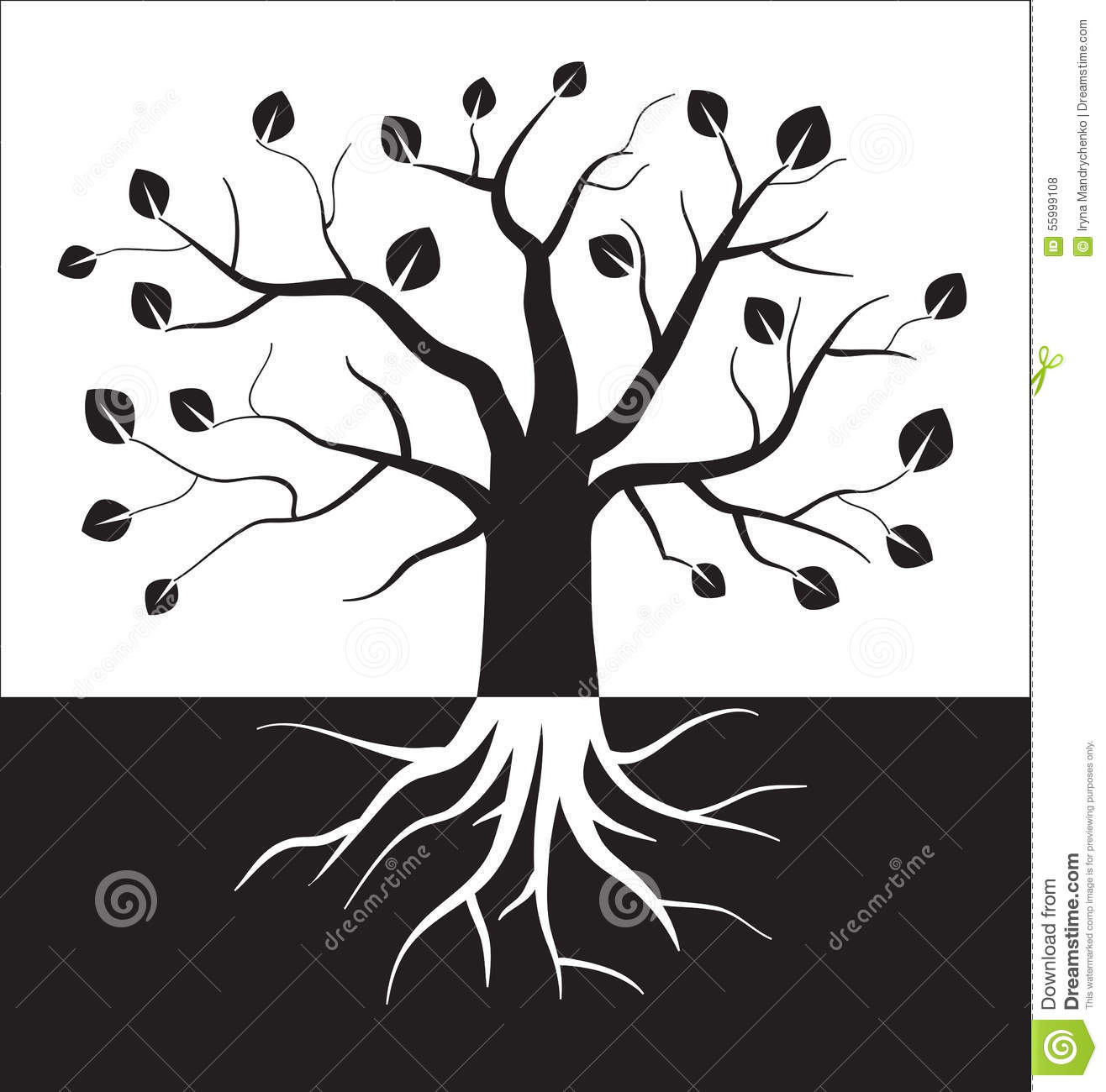 Black And White Tree Symbol. Stock Vector