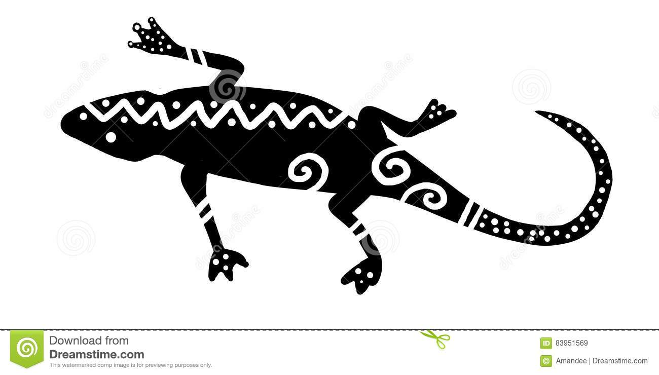 Black And White Tribal Lizard Design With Bold Modern Stripes Dots And Wavy Lines Tropical