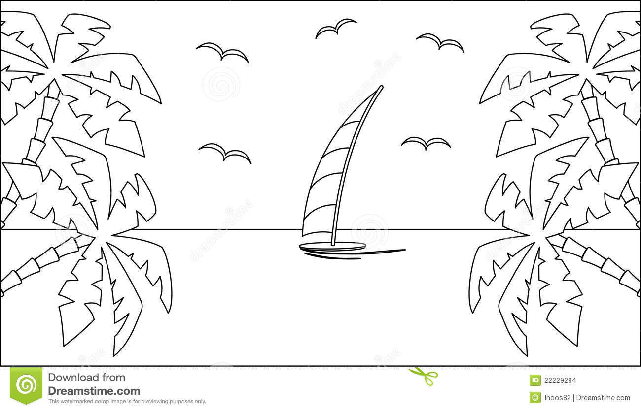 Black And White Tropical Landscape Stock Vector