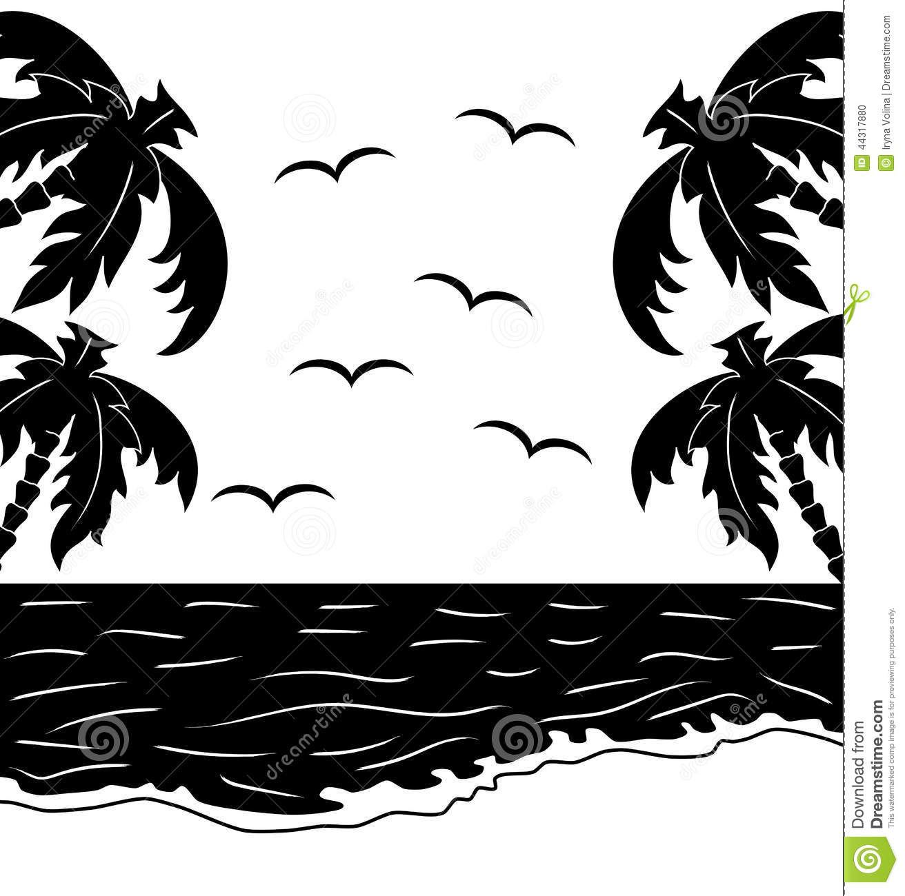 Black And White Tropical Landscape Stock Vector ...
