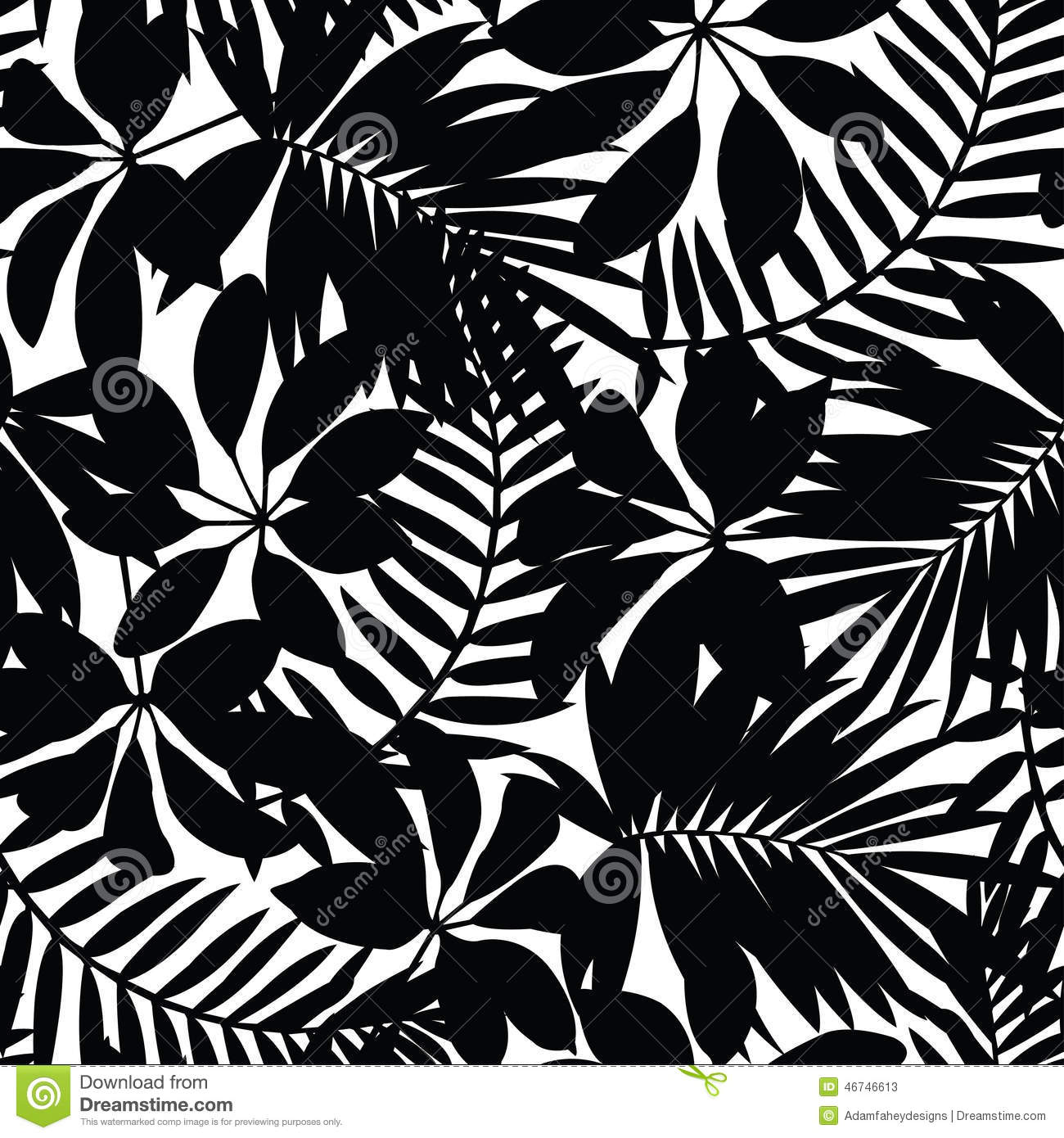 Black and white tropical leaves seamless pattern stock for Black and white only